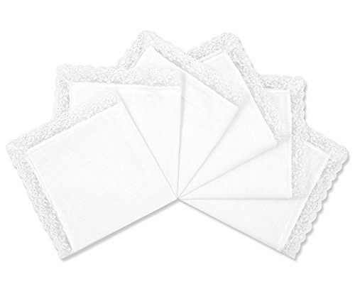 Lace Edge Hankie - Milesky Solid White Wedding Cotton Handkerchiefs with Lace Edges Square 10 x 10