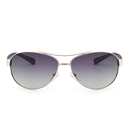 Polarized Aviator Sunglasses Oversize Gradient Lenses Matte Temple Men Women (Silver / Gradient - Gradient Aviator