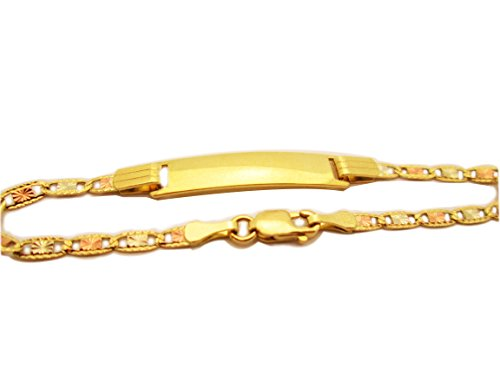 Children Babies 14k Tri Color Gold Valentino link ID Bracelet 5.5 inch by AMZ Jewelry