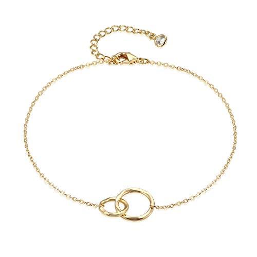 Sister Bracelet, Hammered 14K Gold Fill Dainty Round Bar Heart Interlocking 2 Circle Charm Gold Bracelet