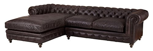 Incredible Amazon Com Vintage Leather Sectional Roll Back Chaise Sofa Evergreenethics Interior Chair Design Evergreenethicsorg