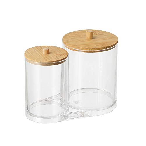 Cotton Ball, Swab, Q-tip Storage Set, Clear Acrylic Jar Container with Bamboo Lid for Cotton Balls,Cotton Swabs,Q-Tips,Cotton Rounds,Makeup Pads Storage Canister