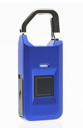 Armstrong Biometric Fingerprint Padlock for Gym/School Lockers, On-Board Luggages, Backpack, Support Micro USB Charge (Blue)