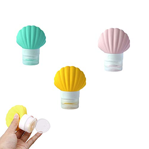 3 Pack Portable Se-Shell Silicone Travel-Bottles for Shampoo, Conditioner, Lotion 90ml