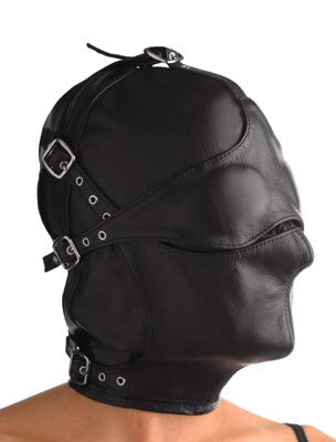 Strict Leather Asylum Leather Hood with Removable Blindfold and Muzzle, Medium/Large by Strict Leather