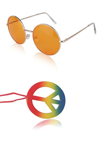 Hippy Hippie Costume Set Sunglasses Women Men Peace Sign Necklace -