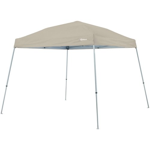 Quest Q64 10 Ft. X 10 Ft. Slant Leg Instant Ez up Pop up Recreational Canopy Tent (Natural) by Quest