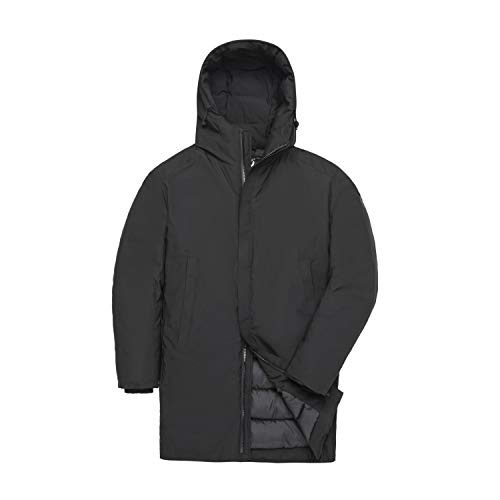 TIGER FORCE Mens Hooded Business Coat Parka Foundation Anorak Jacket Winter Slim Thicken Cotton Padded Outerwear Blue Black