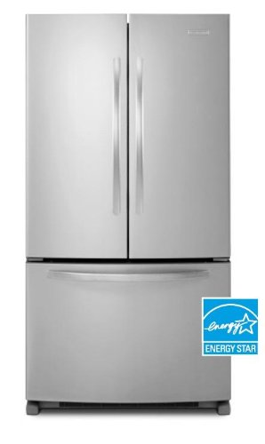 """KITCHENAID KBFS22ECMS 33"""" Bottom Freezer Refrigerator with 22 cu. ft., Automatic Ice Maker, Interior Water Dispenser, Adjustable Glass Shelves, and Energy Star Qualified"""