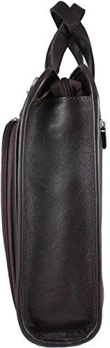 Zavelio Hombres Henrik piel auténtica de lujo del negocio maletín bolso bandolera negro negro talla única marrón