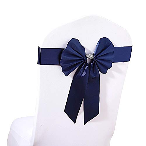 BalsaCircle 100 pcs Navy Blue Reversible Satin Faux Leather Bow Tie Chair Sashes with Buckles - Wedding Party Reception Decorations Blue Faux Satin Bow