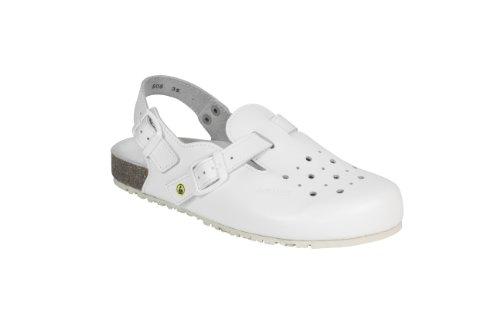 AWC - Sandalias de vestir de Piel para mujer Blanco weiß gelocht 47