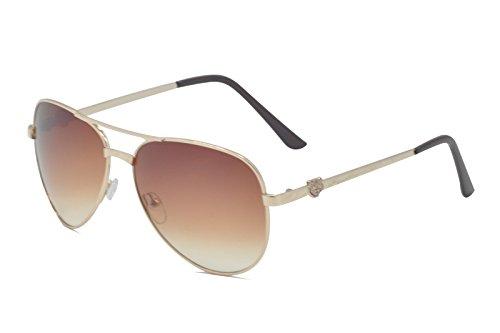 for Nihoooo Full Mirrored Aviator Sunglasses / Flash Mirror Lens Uv400 (Gold Frame, Brown - Del Costa Z87 Mar