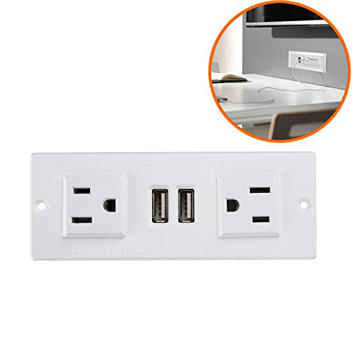 Furniture Recessed Power Strip, Recessed Desk Outlet with USB, In Conference Desk Recessed Power Outlets Socket, Desktop Power Grommet with 6.56ft Power Cord