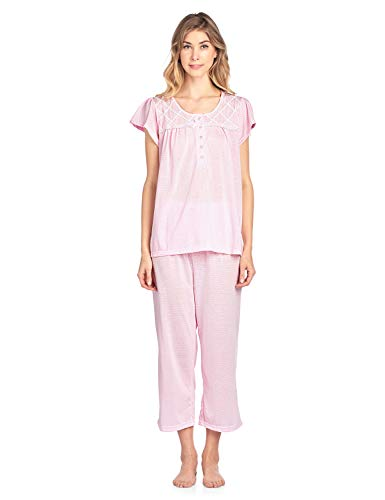 Dot Capri Pajama - Casual Nights Women's Short Sleeve Lace Dot Capri Pajama Set - Pink - 3X-Large