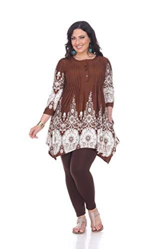 White Mark Dulce Pailsey Damask Printed Tunic Top in Brown & White - 3XL from White Mark