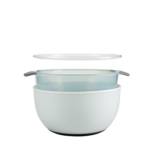 OXO Good Grips 3-Piece Bowl and Colander Set, Sea Glass