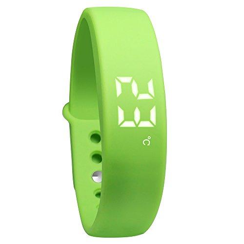 OKSPORT Smart Bracelet Watch Fitness Sports Activity Tracker Pedometers Long Standby Display Steps Distance Calories Burned Temperature Timer Health Sleep Monitor (Green) by OKSPORT