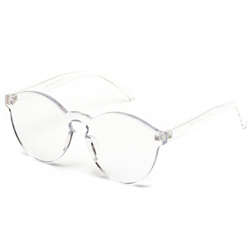 bafefee85dc WearMe Pro - Colorful One Piece Transparent Round Super Retro Sunglasses