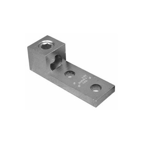 Morris 90733 Morris Products 90733 Mechanical Lug, Mechanical Connector Type, 1 Conductor, aluminum, Two Hole Mount Holes, 500MCM-#4 Awg Wire Range