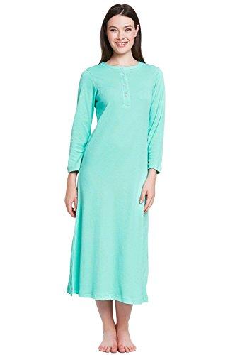 Alexander Del Rossa Womens Cotton Knit Nightgown, Long Henley Sleep Dress, Small Sea Glass (A0408SEASM)