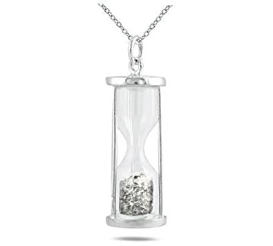 25ae829dae2a0 Natural Diamond 0.50 Ct Time in Bottle Dust Hourglass Pendant .925 Sterling  Silver