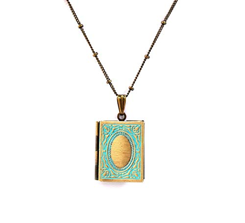 Locket Book (Book Locket Necklace in Blue and antique bronze square openable keepsake)