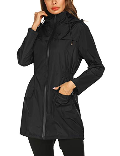 Doreyi Packable Rain Jacket Ladies Lightweight Waterproof Outdoor Raincoat with Hooded Trench Coats Hiking Raincoats(Black Zipper