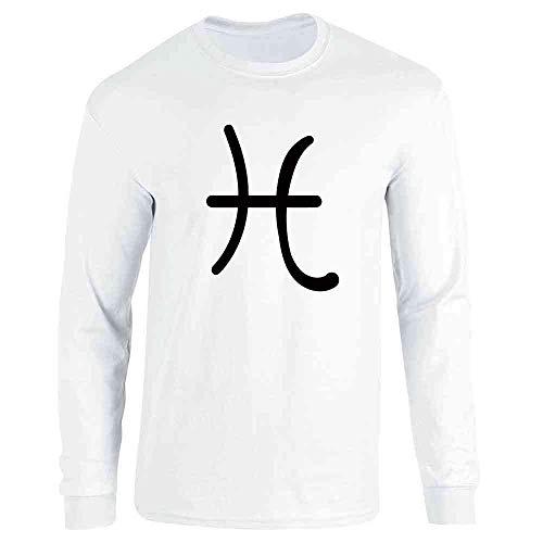 (Pisces Zodiac Astrology Symbol Horoscope White L Long Sleeve T-Shirt)