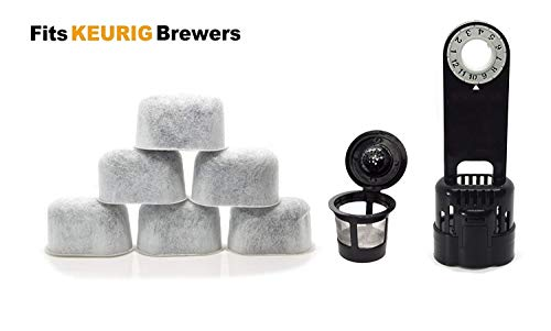 Keurig Compatible Water Filter Replacement with Holder and K Cup Kit - Universal (NOT CUISINART) for Kuerig Coffee Machines 1.0 - Removes Impurities and Improves Taste by ElloGreen (6 PACK) ()