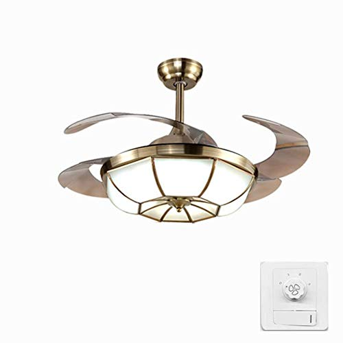 Boyi Ceiling Fan with Light Lamp 107cm Pure Copper Frequency Conversion Invisible Ceiling Fan Household Mute Three-Color Light (Wall Control)