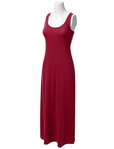 Womens Maxi burgundy Neck Tank Awdmd0201 Racerback Round Sleeveless Dress DRESSIS aqXgdvwv