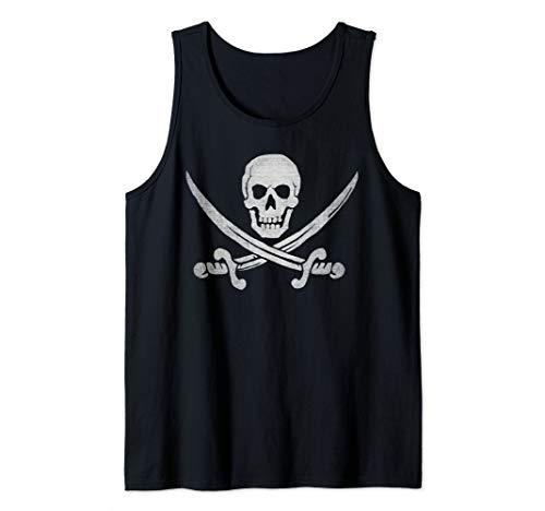 Jolly Roger Skull and Cutlasses Distressed and Faded Pirate Tank Top