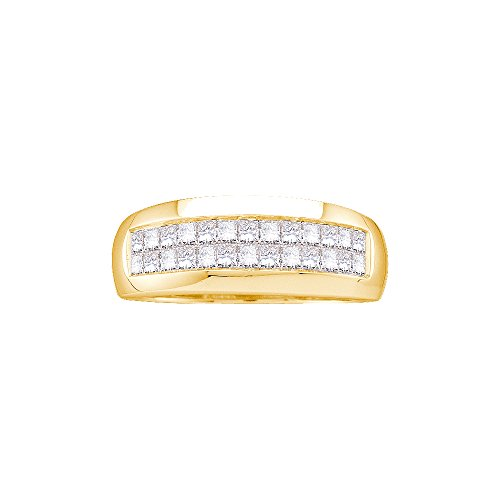 14kt Yellow Gold Mens Princess Diamond Band Wedding Anniversary Ring 1.00 - Setting Shank Yellow Gold 14kt