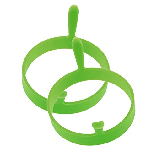 (SAQIMA 2PCS Kitchen Cook Tool Silicone Round Egg Rings Pancake Mold Ring with Handles Nonstick Fried Frying Convenient Cooking Mold (Green))