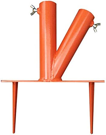Hi-Flame Outdoor Lawn Umbrella Stand Steel Parasol Holder with 2 Positions for Park, Patio, Beach, Orange
