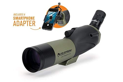 Celestron - Ultima 65mm Spotting Scope with 45-Degree Viewing Angle - Includes Smartphone Adapter for Digiscoping - Zoom Eyepiece with 18-55x Magnification - Perfect for Hunting or Bird Watching