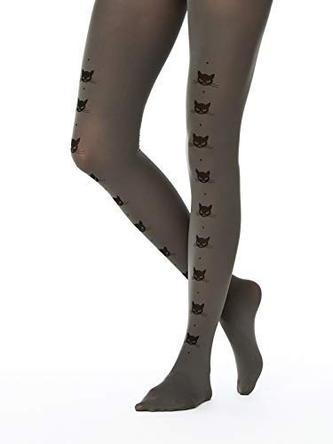 Cat Line Patterned Opaque Pantyhose Cat Lover Gifts Opaque Tights for Women Grey