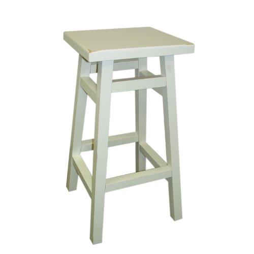 Carolina Chair Wood - Carolina Chair and Table Thomas Tavern Stool, 24-Inch, Antique White