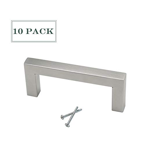 - 10 Pack Brushed Nickel Cabinet Pulls 3 inch Hole Spacing Square Bar Shape Drawer Dresser Cupboard Closet Pulls and Knobs Stainless Steel Bedroom Bathroom Kitchen Hardware Pull Handles