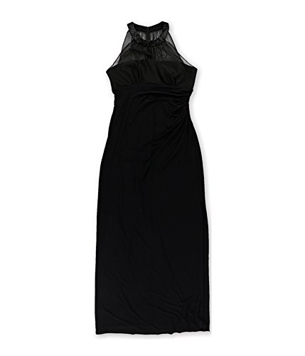Ralph Lauren Womens Mesh Beaded Gown Dress BLACK/BLACK 8 NEW