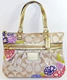 Coach Daisy Applique Multicolor Tote Bag Purse Khaki Sateen 20794