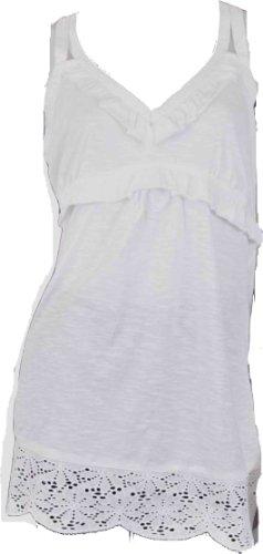 Ladies algodón tiras chaleco Top Túnica satén correa Broderie Anglaise–Cenefa de encaje blanco