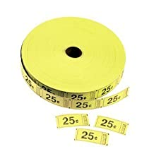 Yellow 25 Cents Single Roll Tickets (2000 tickets) - Bulk by Oriental Trading Company