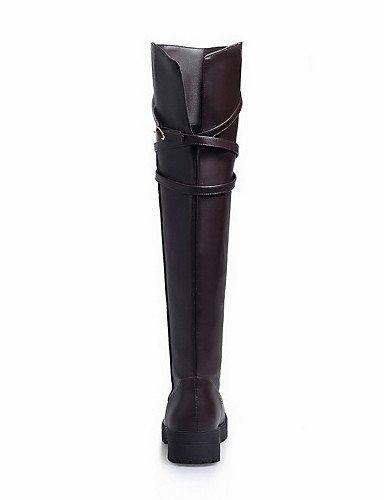 XZZ/ Damen-Stiefel-Kleid / Lässig-Kunstleder-Niedriger Absatz-Modische Stiefel / Motorradstiefel / Rundeschuh-Schwarz / Braun black-us9 / eu40 / uk7 / cn41