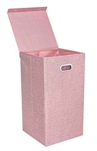 BirdRock Home Single Laundry Hamper with Lid and Removable Liner | Pink | Linen | Easily Transport Laundry | Foldable Hamper | Cut Out Handles