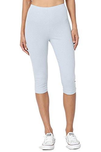 TheMogan Women's Basic Cotton Spandex Below Knee Length Leggings Ash Blue S Low Rise Stretch Leggings