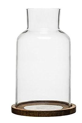 Sagaform Oval Oak Candleholder - Oak Tray with Glass Cover