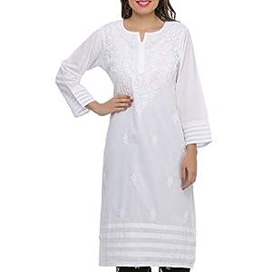 ADA Needlecraft Ethnic Chikan White Cotton Kurti for Women Casual Wear