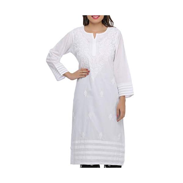 White Cotton Kurti for Women Casual Wear
